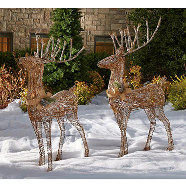 5 sugared grapevine outdoor deer pair - Outdoor Deer Christmas Decorations