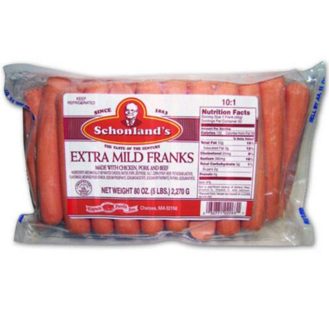 Schonland's Extra Mild Hot Dogs (5 lb.)
