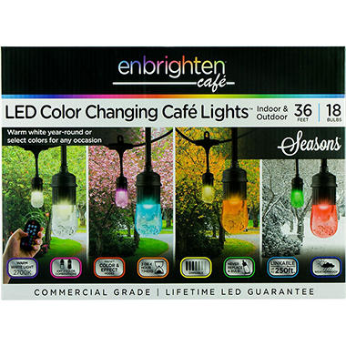 Enbrighten Seasons Led Color Changing Café Lights 36ft 18 Bulbs