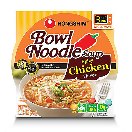 Nongshim Spicy Chicken Bowl Noodle Soup (3.03 oz., 12 ct.)