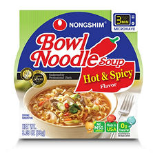 Nongshim Hot & Spicy Bowl Noodle Soup (3.03 oz. cup, 18 ct.)
