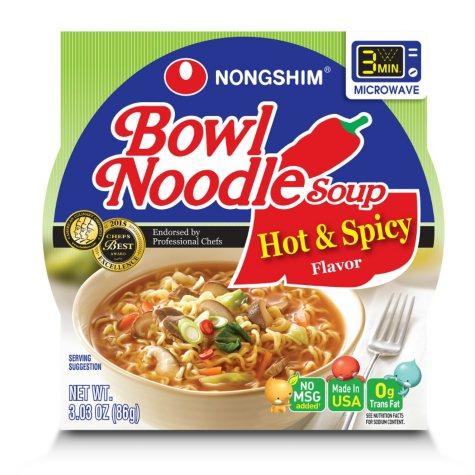 Nongshim Bowl Noodle Soup, Hot & Spicy (3.03 oz., 18 ct.)