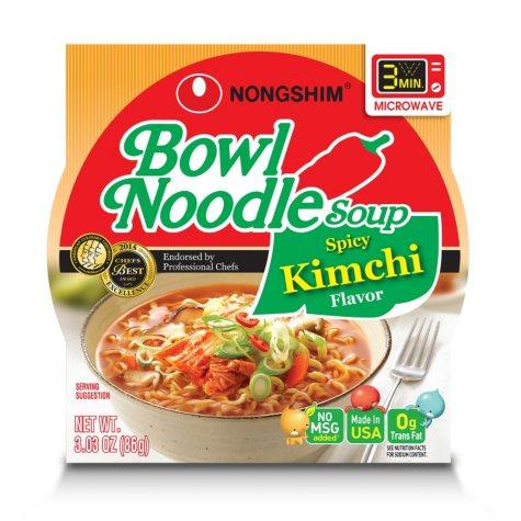 Nongshim Bowl Noodle Soup, Spicy Kimchi (3.03 oz., 18 ct.)