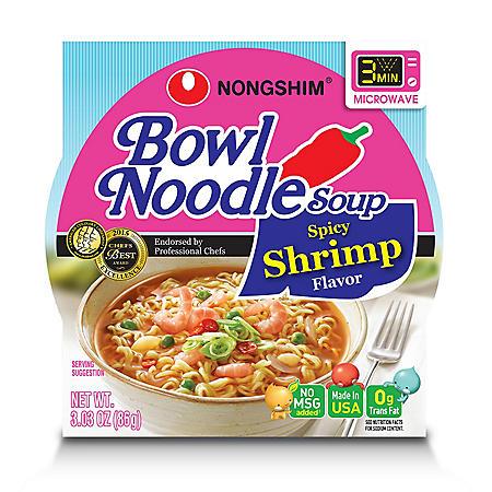 Nongshim Spicy Shrimp Bowl Noodle Soup (3.03 oz., 12 pk.)
