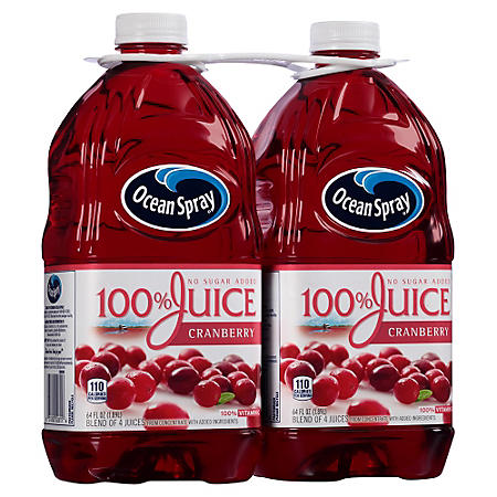 Ocean Spray 100% Juice, Cranberry (64 fl. oz. bottles, 2 ct.)