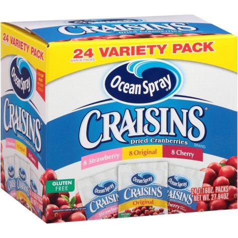 Ocean Spray Craisins Dried Cranberries Variety Pack (1.16 oz., 24 ct.)