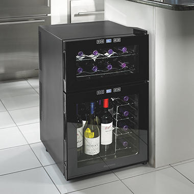 wine enthusiast wine cooler wine enthusiast 24 bottle silent dual zone touchscreen 31189