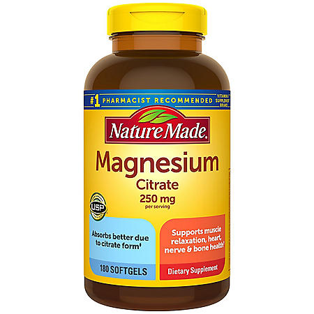 Nature Made Magnesium Citrate 250 mg Softgels, (180 ct.)