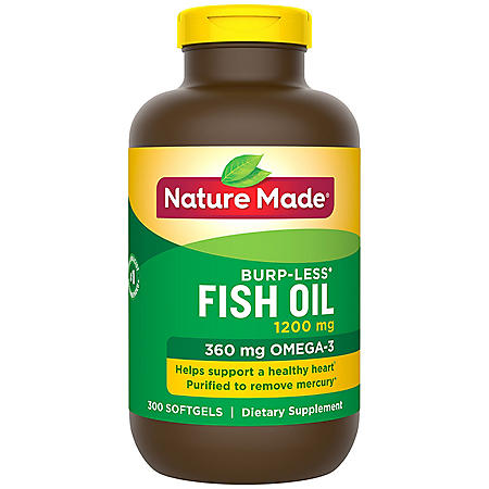 Nature Made Burp-Less Fish Oil 1,200 mg Softgels for Heart Health (300 ct.)
