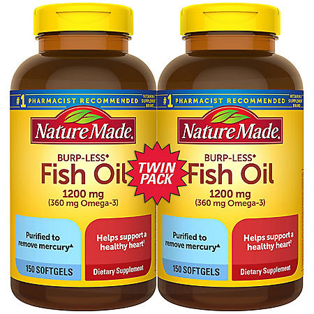 Nature Made Burp-Less Fish Oil 1,200 mg Softgels for Heart Health† (150 ct., 2 pk.)
