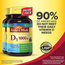Nature Made Vitamin D3 1,000 IU (600 Softgels Twinpack)