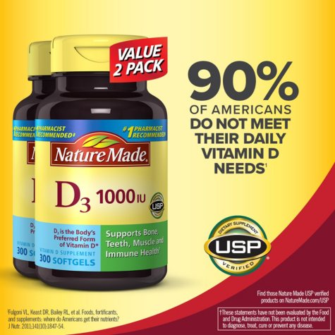 Nature Made Vitamin D3 1,000 IU (600 Softgels Twinpack)