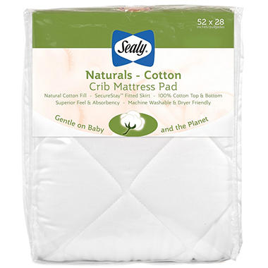 Sealy Naturals Cotton Crib Mattress Pad