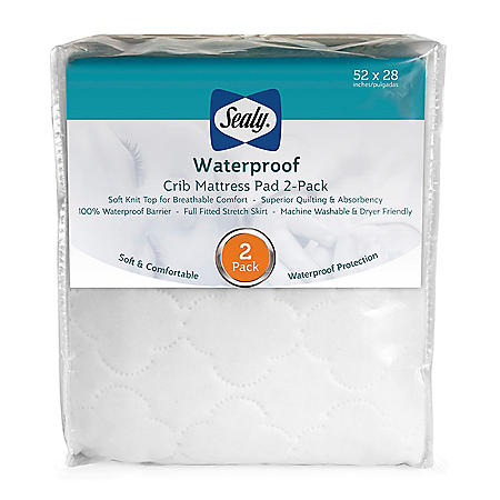 Sealy Waterproof Crib Mattress Pad, 2-Pack Export