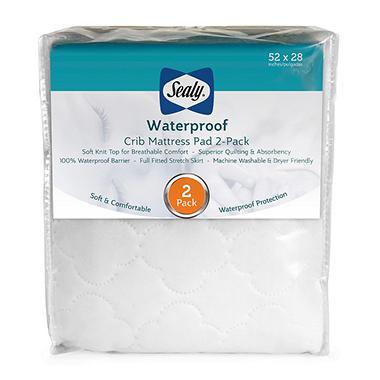 sealy waterproof crib mattress pad 2pack