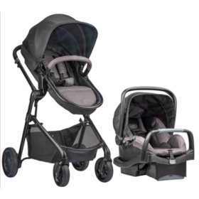Evenflo Pivot Modular Travel System with SafeMax Car Seat, Casual Gray
