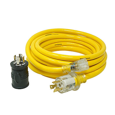 Yellow Jacket 25 Ft. 10/3 15A Generator Cord with Bonus Adapter