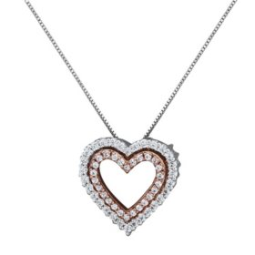 """0.21 CT. T.W. Diamond Double-Row Heart Pendant in 14K White and Rose Gold, 18"""""""