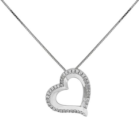 0.14 CT. T.W. Diamond Open Heart Pendant in 14K White Gold, 18""