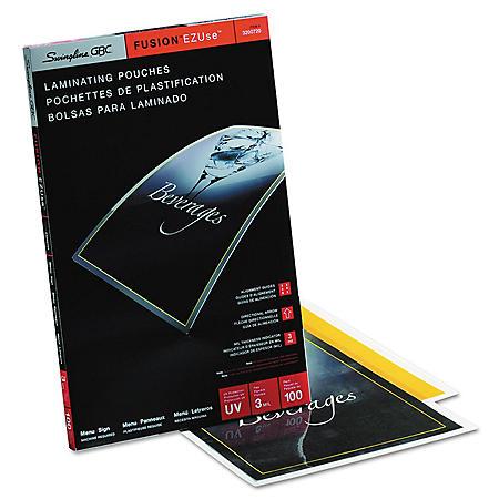 Swingline GBC - Fusion EZUse Premium Laminating Pouches, 3 mil, 11 1/2 x 17 1/2 -  100/Box