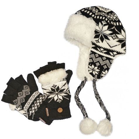 Muk Luks Knit Hat and Flip Mittens - One Size Fits Most