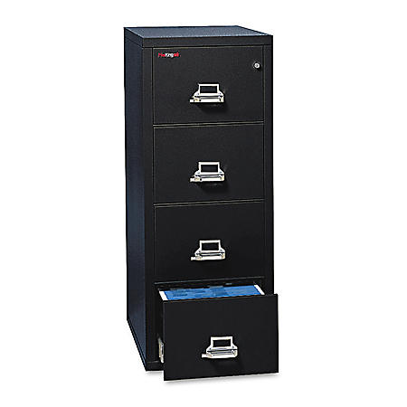 FireKing 4-Drawer Vertical Letter File Cabinet, Black