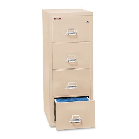 "FireKing 42131C Insulated Vertical 4 Drawer File Cabinet, Parchment (Legal, 31-9/16"")"