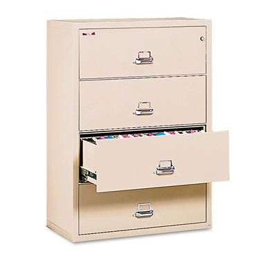 FireKing Lateral 4-Drawer File Cabinet,Parchment (Letter/Legal, 37-1/2