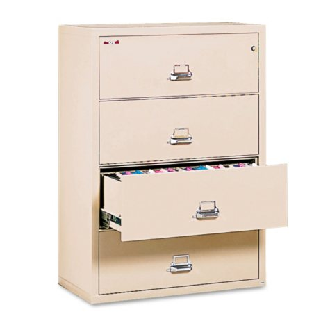 """FireKing Lateral 4-Drawer File Cabinet,Parchment (Letter/Legal, 37-1/2"""" Width)"""