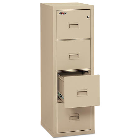 FireKing Turtle 4-Drawer Compact File Cabinet, Parchment
