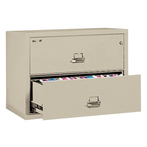 "FireKing 31-1/8"" Wide 2-Drawer Lateral File Cabinet, Parchment"