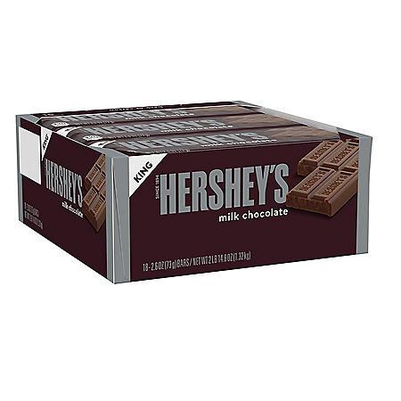 Hershey's King Size Milk Chocolate Bar (2.6 oz., 18 ct.)