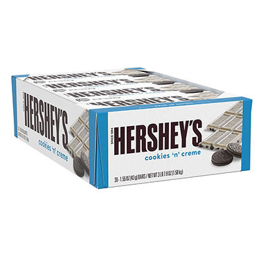 Hershey's Cookies 'n' Creme Candy Bar (1.55 oz., 36 ct.)