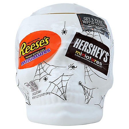 Hershey's Halloween Miniatures Assortment in Skull Candy Bowl (37 oz.)