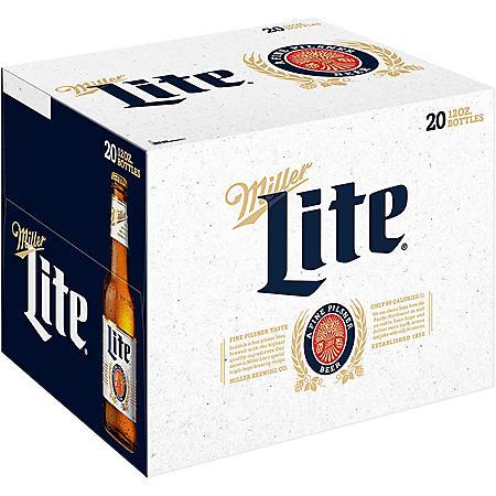 Miller Lite Beer (12 fl. oz. bottle, 20 pk.)