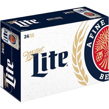 Bulk beer in bottles cans sams club sams club miller lite beer 12 fl oz can 24 pk mozeypictures Choice Image