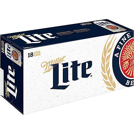 Miller Lite Lager Beer (12 fl. oz. can, 18 pk.)