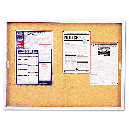 "Quartet - Enclosed Bulletin Board Cork Over Fiberboard - Aluminum - 48"" x 36"""