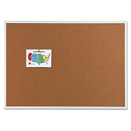 """Quartet Classic Cork Bulletin Board, 60"""" x 36"""", Silver Aluminum Frame"""