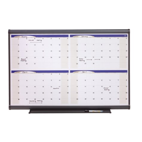 "Quartet - Prestige Total Erase Monthly Calendar, 48"" x 36"", Gray Frame"