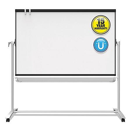Quartet® Prestige 2 Mobile Presentation Easel,  6' x 4', White Board with Graphite Silver Frame