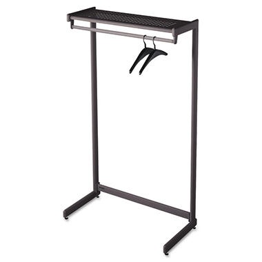Quartet - Single-Side Garment Rack w/Shelf, Powder Coated Textured Steel, 48