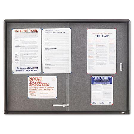 Quartet - Enclosed Bulletin Board, Fabric/Cork/Glass, 48 x 36, Gray -  Aluminum Frame