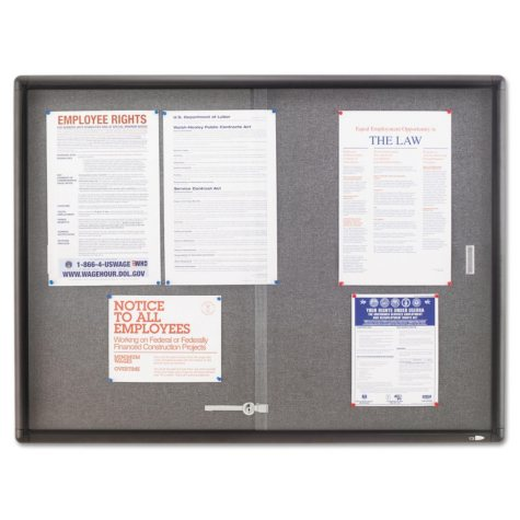 Quartet - Enclosed Bulletin Board, Fabric/Cork/Glass, 48 x 36, Gray -  Aluminum Frame