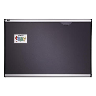 Quartet - Prestige Bulletin Board, Diamond Mesh Fabric, 72 x 48 -  Gray/Aluminum Frame