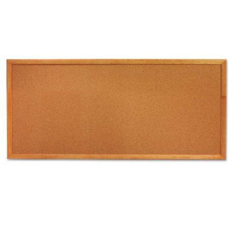 "Quartet Classic Slim Line Cork Bulletin Board, 36"" x 12"", Oak Finish Frame"