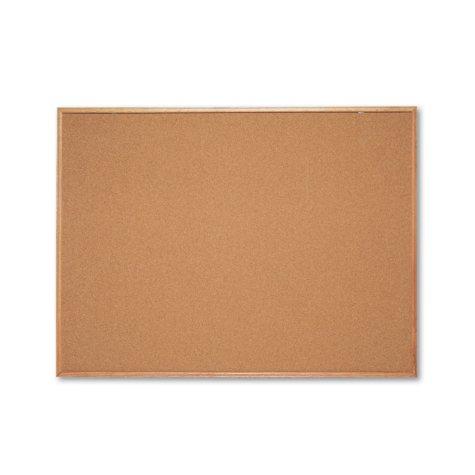 """Quartet Classic Cork Bulletin Board, 48"""" x 36"""", Oak Finish Frame"""