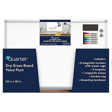 Quartet Magnetic Dry-Erase Board, 2' x 3', Euro Style Aluminum Frame Value Pack