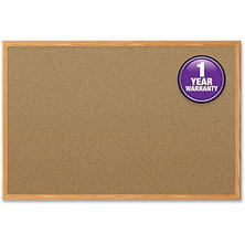 "Mead Cork Bulletin Board, 36"" x 24"", Oak Finish Frame"