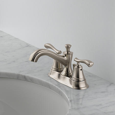 "Sentiment 2-Handle 4"" Centerset Bathroom Faucet, Stainless"